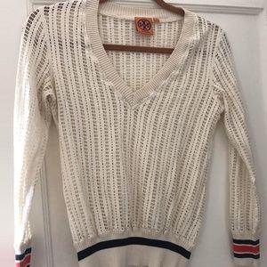 Tory Burch Collegiate  Light Crochet Knit sweater